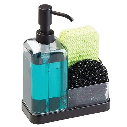 mDesign Dosificador de jabón recargable – Dispensador de jabón para cocina con soporte para estropajo de