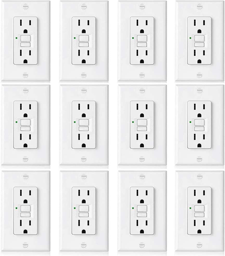 ground fault circuit interrupter outlets amazon com electrical[12 pack] bestten 15a gfci outlets, slim, non tamper resistant