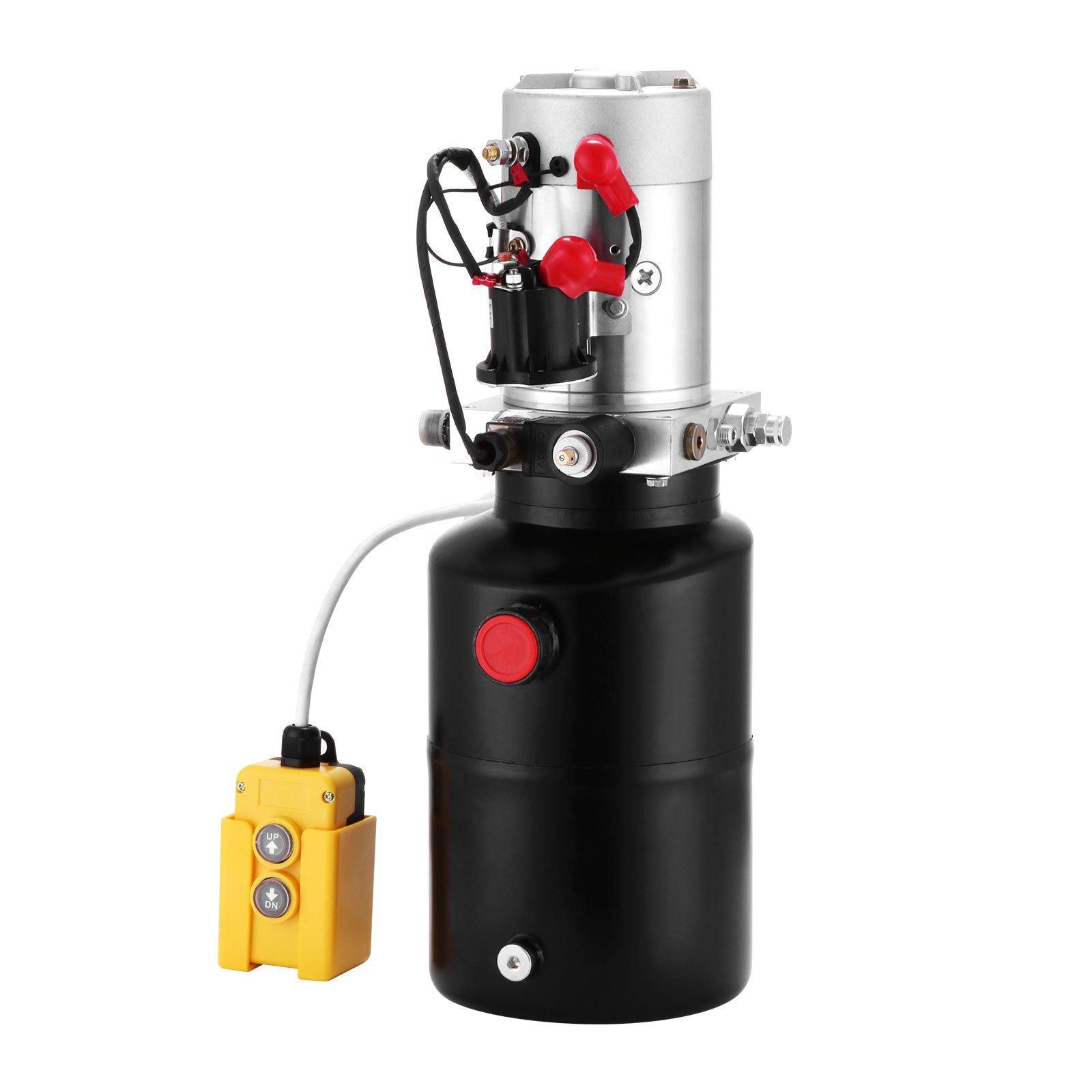 Mophorn Hydraulic Power Unit 12V DC Single Acting Hydraulic Pump 6 Quart Steel Reservoir Hydraulic Pump Unit for Dump Trailers Remotely Controlled Car Lift Pump (6 Quart Single Acting Steel)