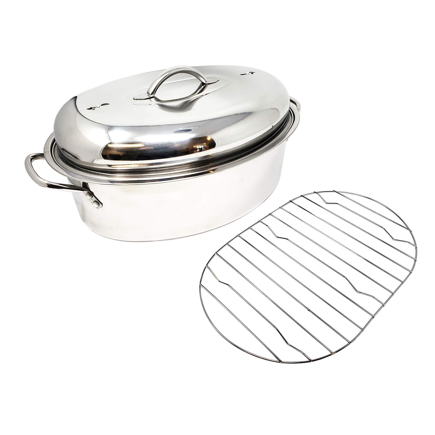 Stainless Steel Oval Lidded Roaster Pan Extra Large & Lightweight | With Induction Lid & Wire Rack | Multi-Purpose Oven Cookware High Dome | Meat Joints Chicken Vegetables 9.5 Quart Capacity by LavoHome