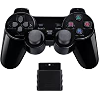 Controle sem fio Gamepad Twin Shock para PlayStation 2 PS2 (Preto)
