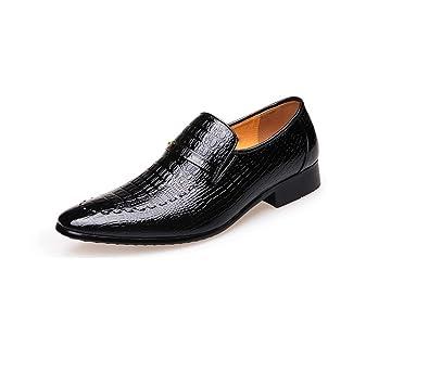 LEDLFIE Herren Lederschuhe Formelle Kleidung Mode Krokodil Muster Herrenschuhe