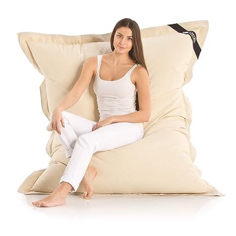 Lazy Bag Original Indoor & Outdoor Sitzsack XXL 400L Riesensitzsack  Sitzkissen Sessel für Kinder & Erwachsene 180x140cm (Beige)