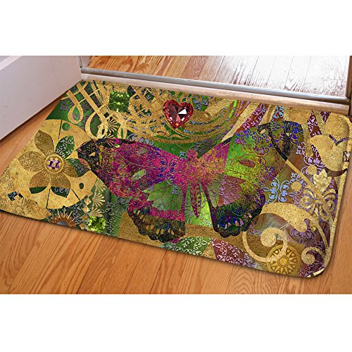 SANNOVO Flannel Stair Pad Butterfly Carpet Warm Doormat Comfortable Tread Floor Pad Non Sliping Back Rug from SANNOVO