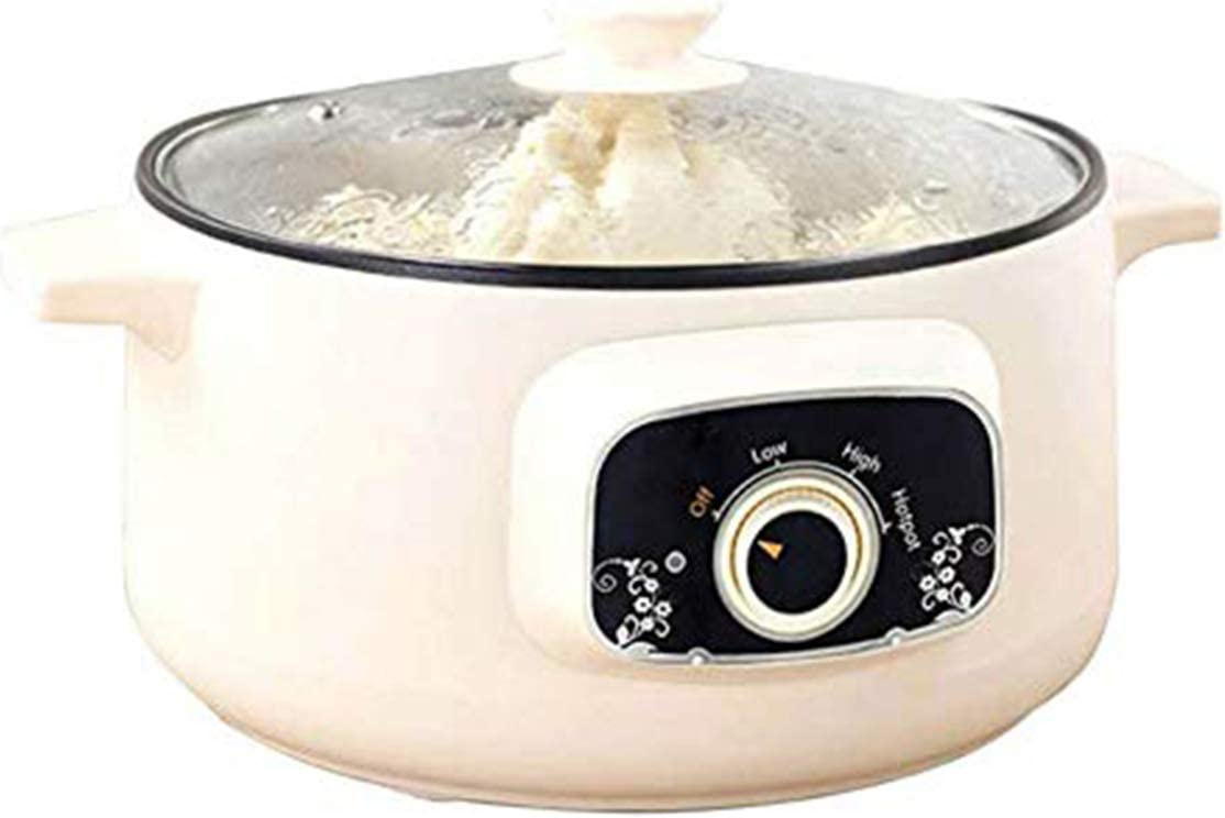 110V Electric Skillet, Multi-Functional Rice Cooker Food Steamer Nonstick Personal Hot Pot with Lid for Home Student Dormitory Cook Steam Simmer Stir Fry Griddle (2.2L for 1 to 2-person, No Steamer)