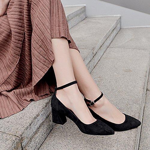 y 36 de el y 39 negro zapatos Transpirable ranurado Sandalias elegante Solo zapatos AJUNR Moda salvaje simples consejos 6cm vwzTq