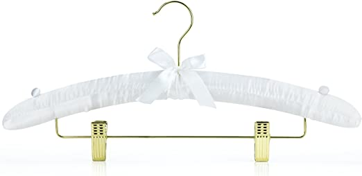 Amazon Com Hangerworld White 17inch Satin Padded Coat Clothes Hangers With Clips For Skirts Pants Wedding Garments Home Kitchen