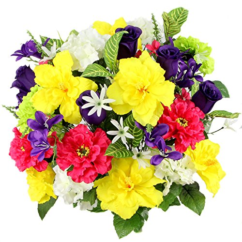 Admired By Nature Artificial Hibiscus with Rosebud, Freesias & Fillers Flower Mixed Bush for Home, Office, Restaurant & Wedding Arrangement, Yellow/Velvet/Violet/Cream, 36 Stems (Zinnia Centerpiece)