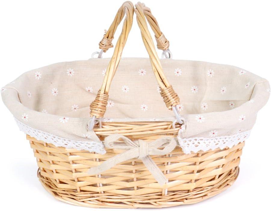 MEIEM Wicker Basket Gift Baskets Empty Oval Willow Woven Picnic Basket Easter Candy Basket Storage Wine Basket with Handle Egg Gathering Wedding Basket (Natural)