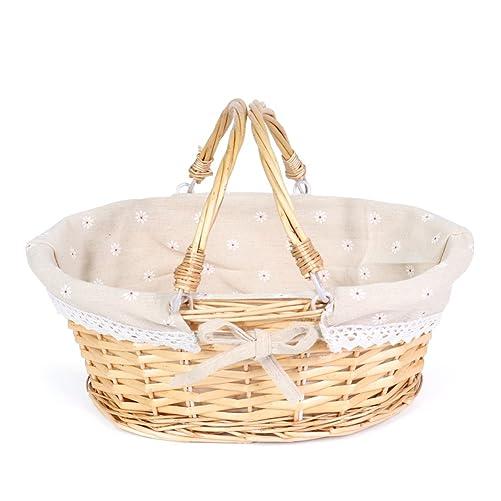 MEIEM Wicker Basket Gift Baskets Empty Oval Willow Woven Picnic Basket Easter Candy Basket Storage Wine Basket with Handle Egg Gathering Wedding Basket Natural