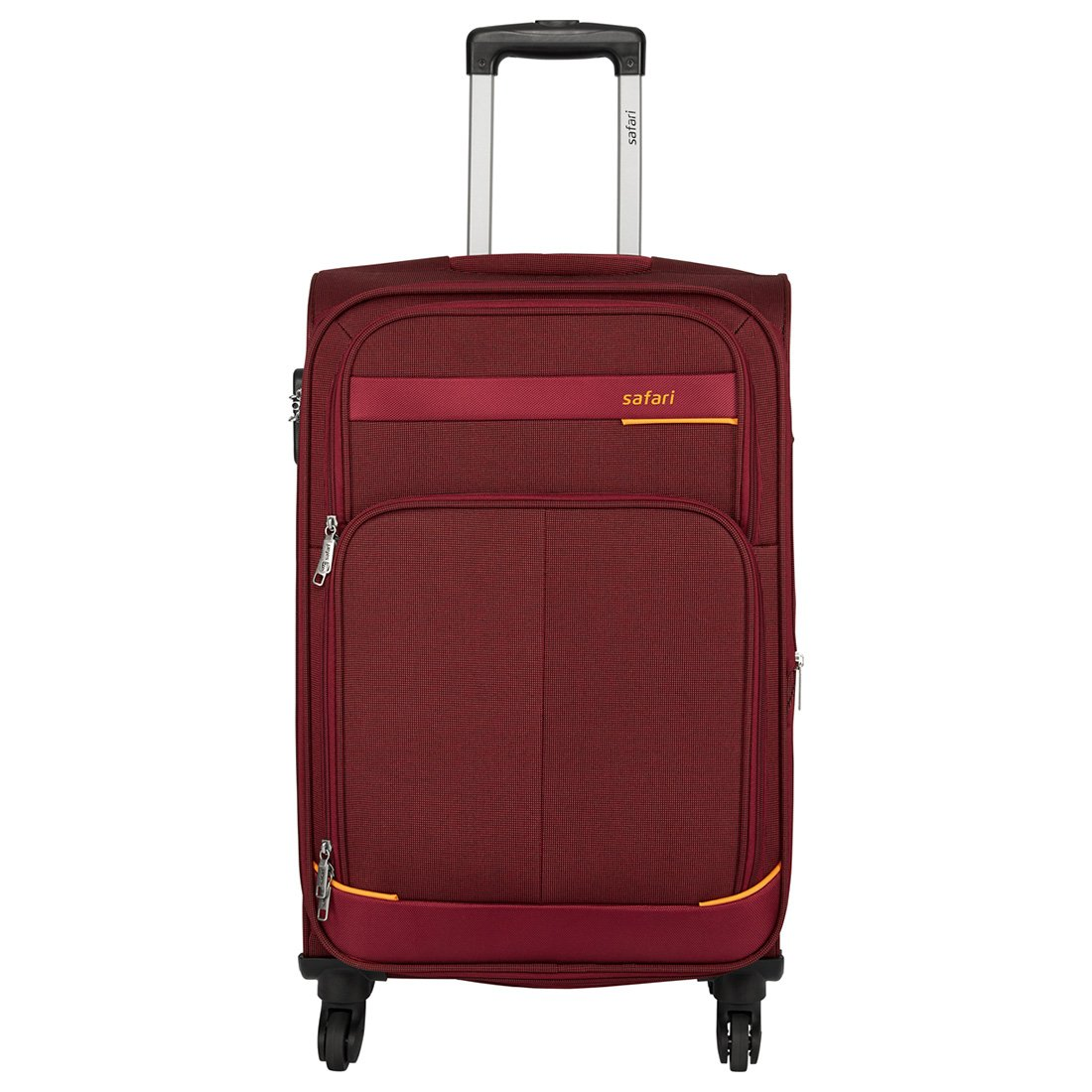 Safari Polyester 55 cms Red Softsided Carry-On (MAASAIMARA 4 Wheel Trolley 55 RED)