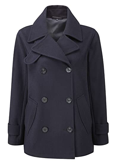f948d694a02 Womens Pea Coat -- Navy  Amazon.co.uk  Clothing