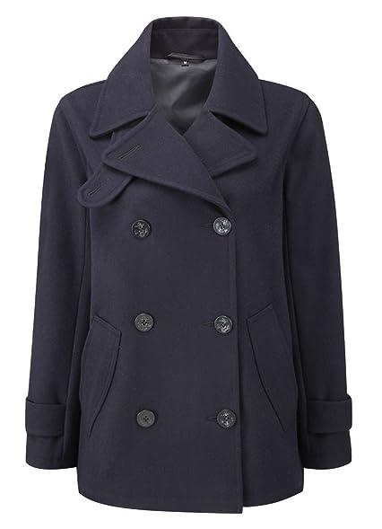 Womens Pea Coat -- Navy: Amazon.co.uk: Clothing