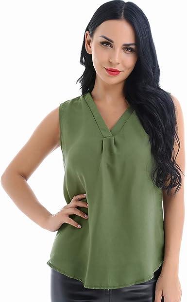 ranrann Chifón Camiseta Sin Mangas para Mujer Blusa Verano Chaleco Sin Mangas Camisa Casual de Gasa Crop Top Traje de Fiesta T-Shirt: Amazon.es: Ropa y accesorios