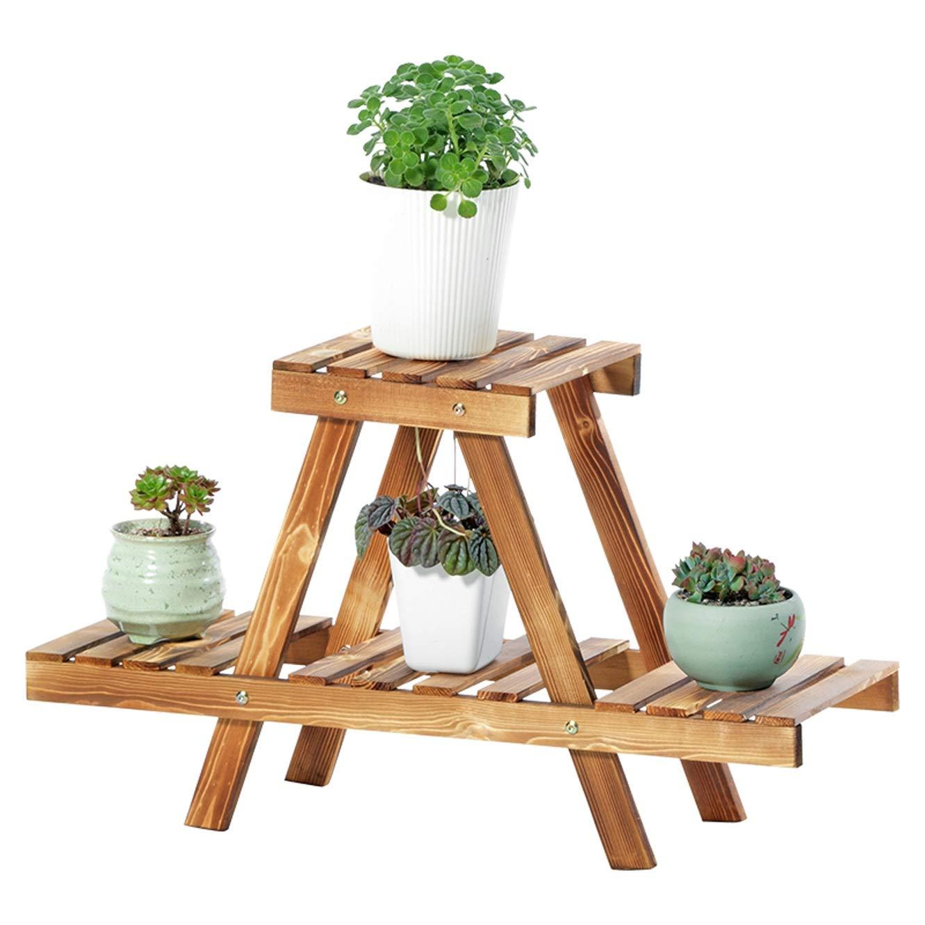Echotang Wooden Plant Stand for Home Garden Balcony Flower Display Shelf Ladder Rack 2-Tier, Brown