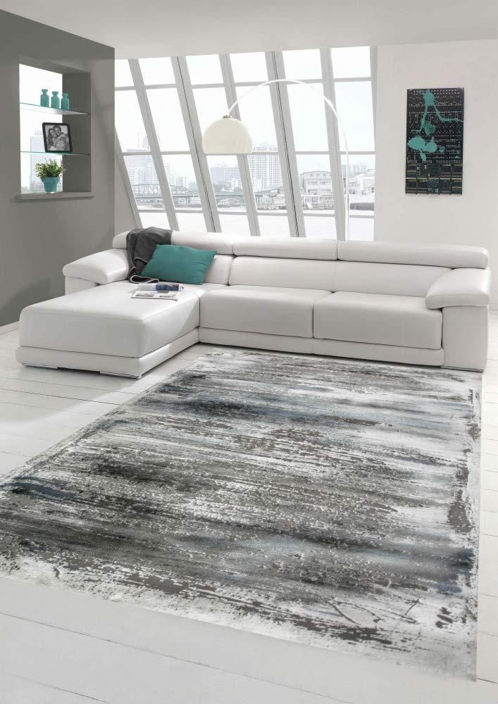 Merinos Wohnzimmer Teppich Design mit Glanzfasern in Grau Blau Größe 200 x 290 cm