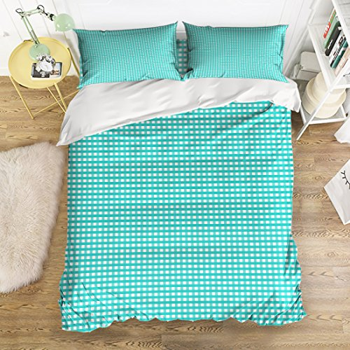 - 4 Pieces Duvet Cover Set White Turquoise Buffalo Check Plaid Pattern Printed Bedding Set Comforter Set 1 Flat Sheet 1 Duvet Cover and 2 Pillow Cases by YEHO Art Gallery (Twin Size)