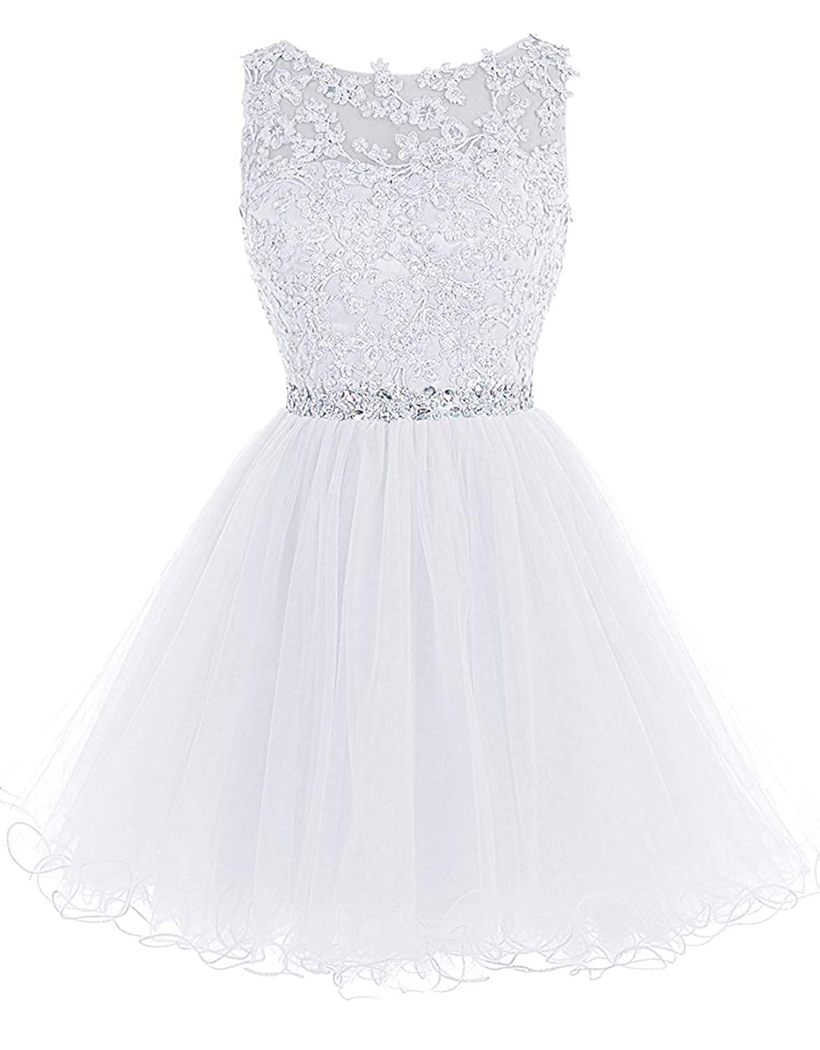 361white Sarahbridal Women's Short Tulle Beading Homecoming Dresses 2019 Prom Party Gowns