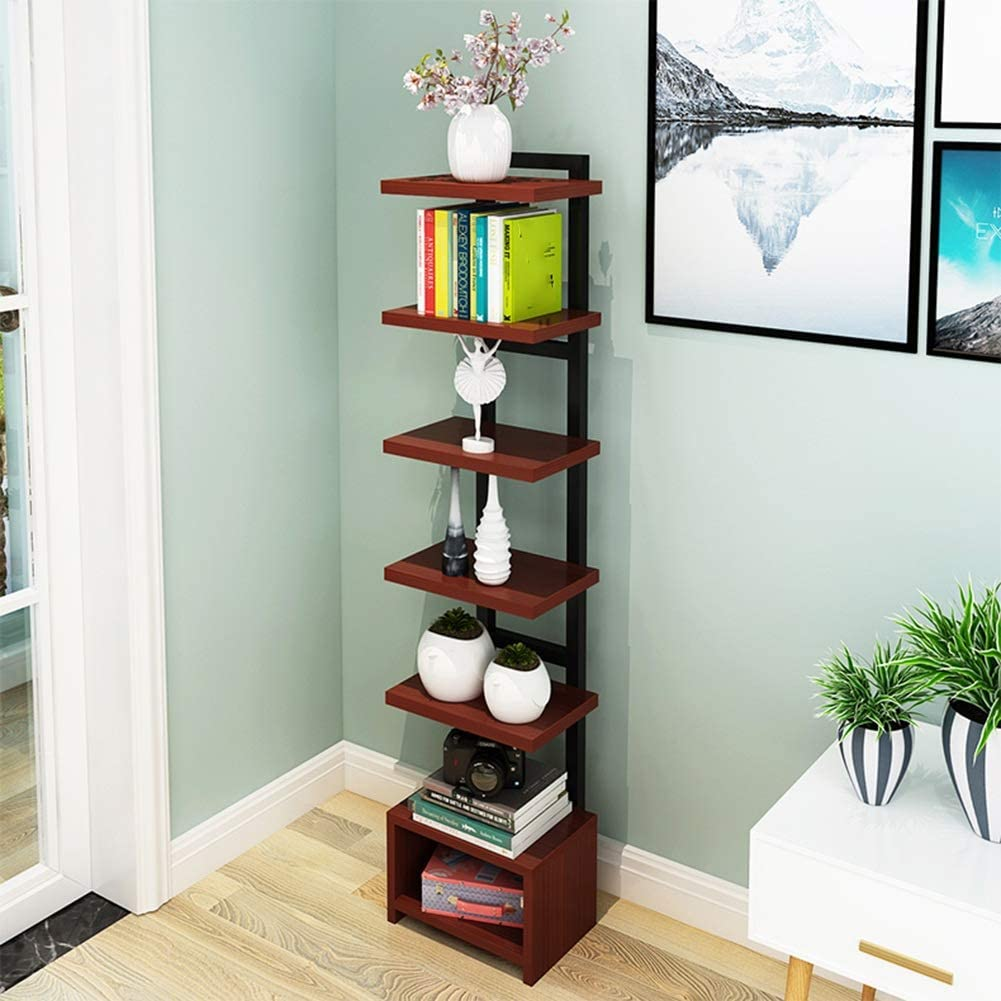 Amazon Com Xewneg Home Decoration Shelf Living Room Shelf Floor Flower Shelf Storage Cabinet 7 Layers Storage Color Teak Color Home Kitchen