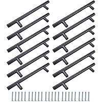 12 stuks kledingkastgrepen zwart, kastlade-stanggreep, deurladegrepen, met bijpassende schroeven, kan worden gebruikt in…