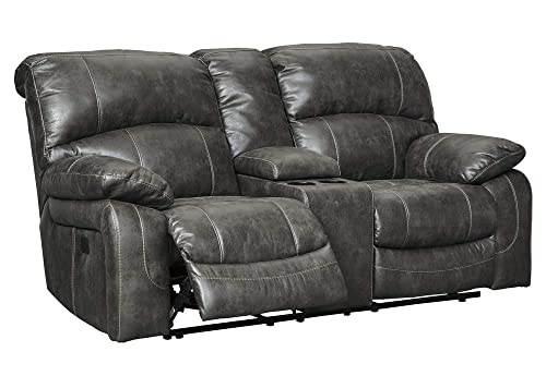 Signature Design by Ashley Dunwell Power Reclining Loveseat Console Adjustable Headrest Steel