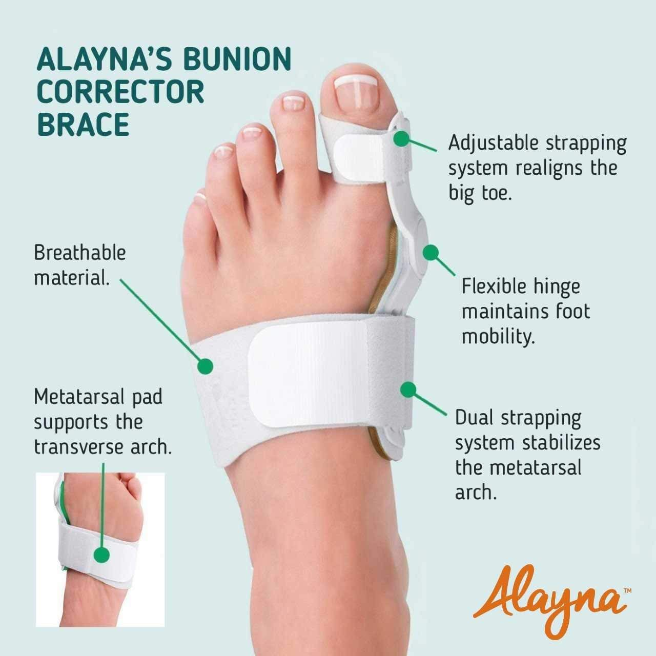Bunion Corrector and Bunion Relief Orthopedic Bunion Splint Pads for Men and Women Hammer Toe Straightener and Bunion Protector Cushions- Relieve Hallux Valgus Foot Pain and Soothe Sore Bunions by Alayna (Image #4)