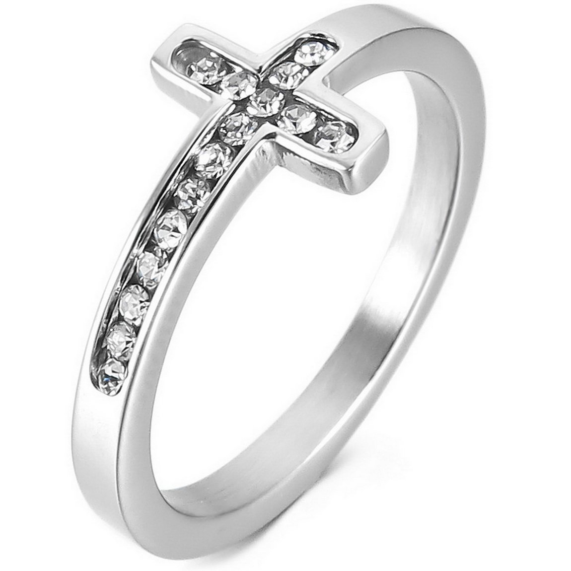 INBLUE Women's Stainless Steel Ring Band CZ Silver Tone Cross Wedding Size8