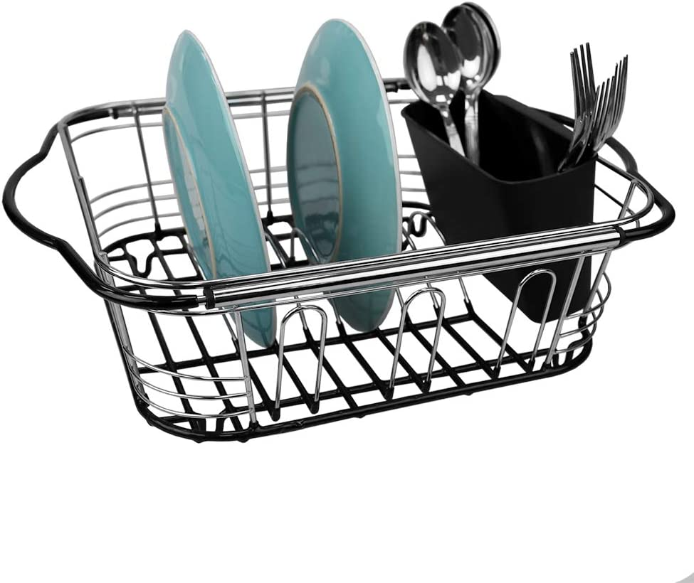"""Home Basics Expandable Over The Sink Steel Wire Dish Rack with Coated Handles, Chrome, 16"""" x 13"""" x 5"""", Silver"""