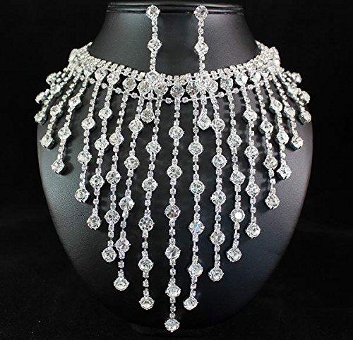 Janefashions Huge Charm Clear Austrian Rhinestone Crystal Necklace Earrings Set Wedding - Crystal Austrian Huge