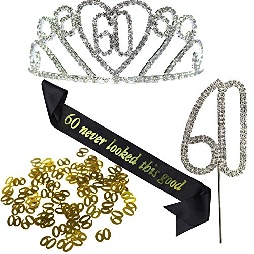KaKaxi 60th Hair Happy Birthday accessories Set - Silver Crystal Tiara Birthday Crown,Birthday Sash,Silver Crystal Birthday Cake Topper and Glod Birthday Confetti (60 Birth) -