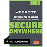 Webroot SecureAnywhere Antivirus for PC Gamers + Virus Protection Software 2021 for 1 Device - Includes System Optimizer   1