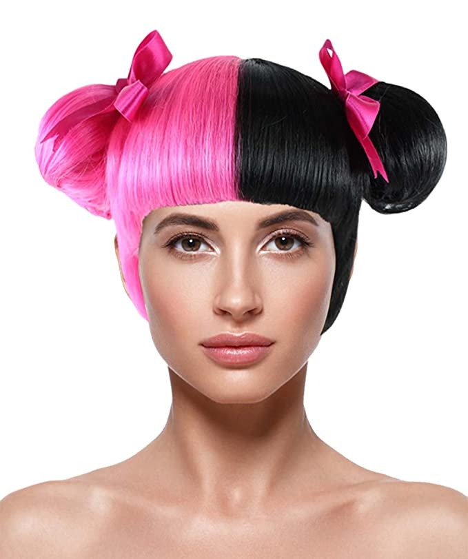 Amazon.com: American Singer Twin Bun Wig, Pink/Black Adult HW-1076: Toys & Games