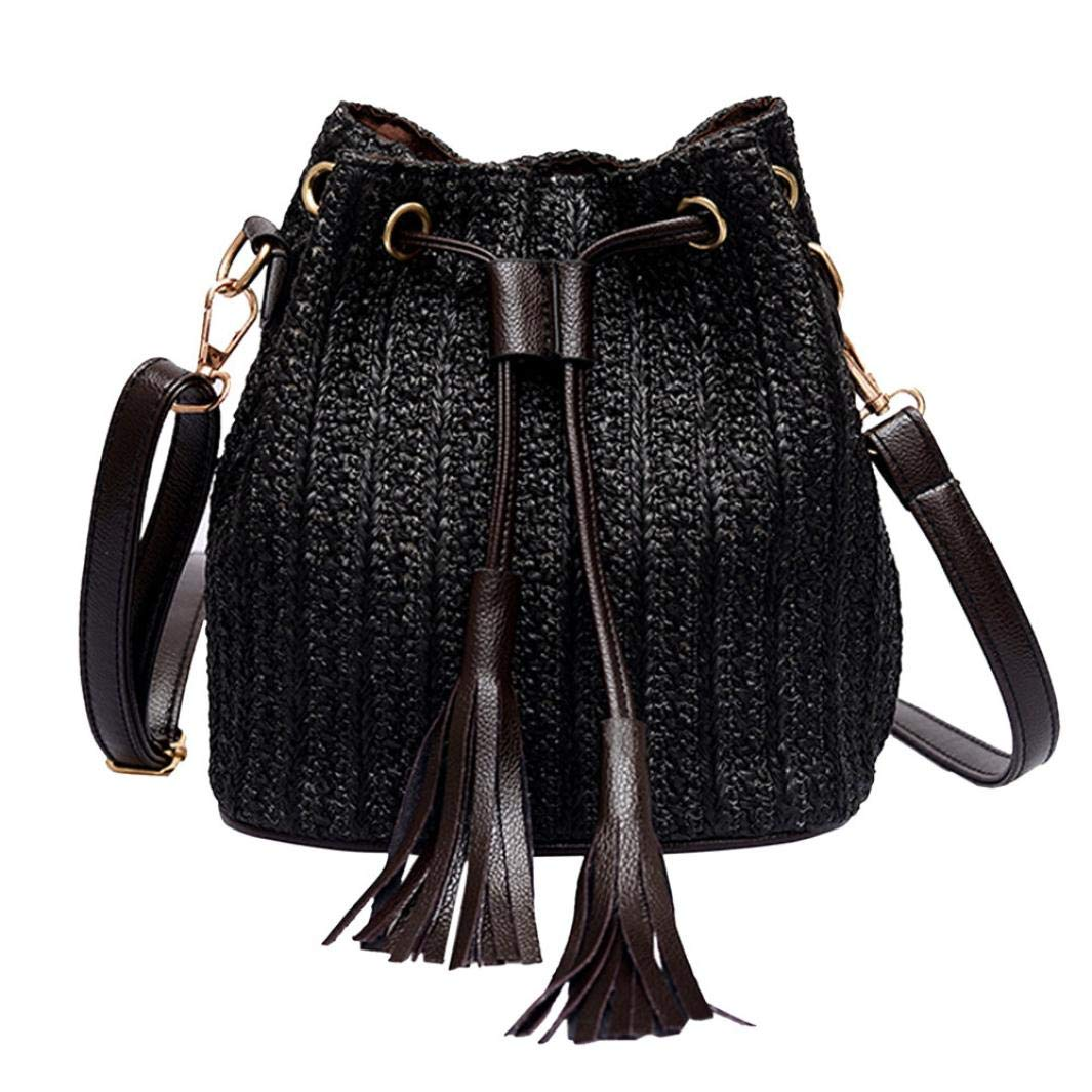 Dream Room Women Vintage Weaving Tassel Messenger Beach Bag Crossbody Bag
