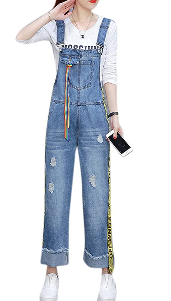 FEESON Womens Casual Ripped Wide Leg Denim Overall Jumpsuits with Ribbens