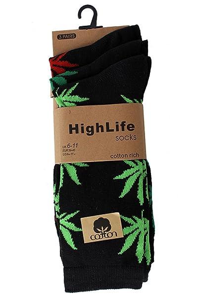 Hola Vida Streetwear de Hierbajos Kush Calcetines de 3 Pares Unidades: Amazon.es: Ropa y accesorios