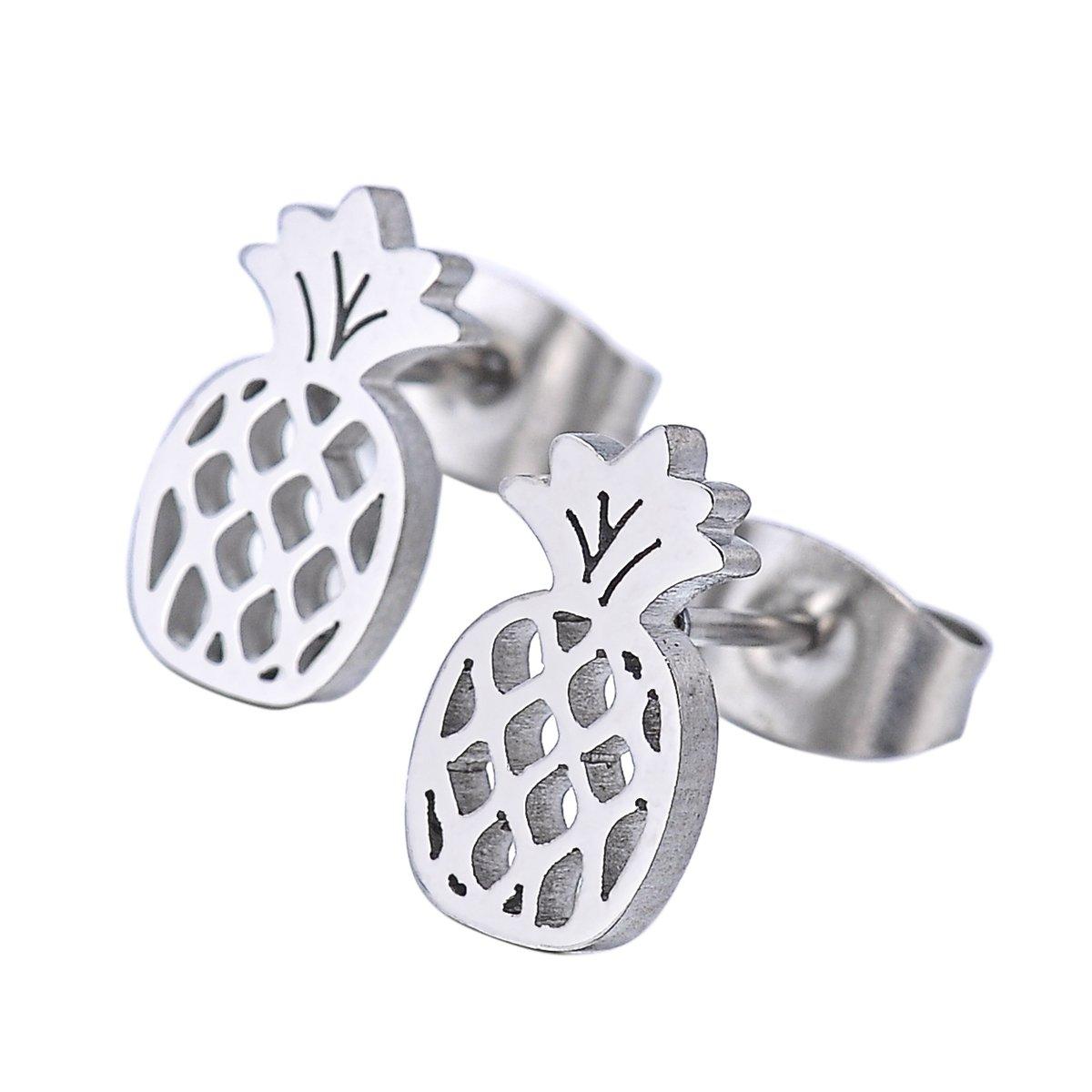 HOUSWEETY 1 Pair Jewellery Women's Stainless Steel Pineapple Stud Earrings HOUSWEETYB131852