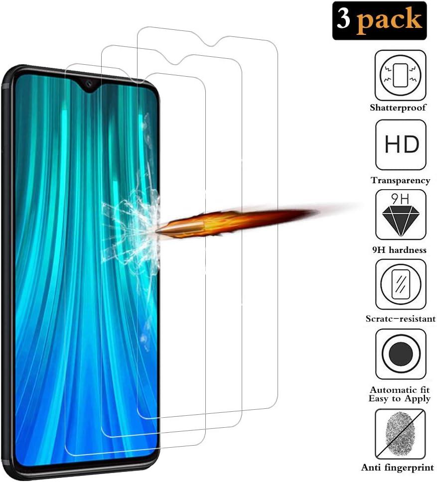 ANKENGS Protector de Pantalla para Xiaomi Redmi Note 8 Pro [3 Unidades], Xiaomi Redmi Note 8 Pro Cristal Templado [dureza 9H][Anti-Arañazos]Xiaomi Redmi Note 8 Pro Vidrio Templado película Protectora