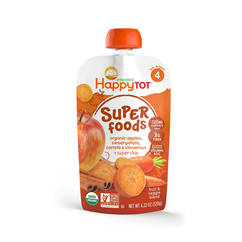 Happy Tots Sweet Potato, Apple, Carrot, Cinnamon and Super Chia Food for Toddlers, 4.22 oz
