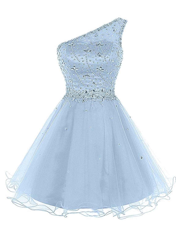 Lily Wedding Juniors Aline One Shoulder Beaded Prom Dress 2018 Short ...