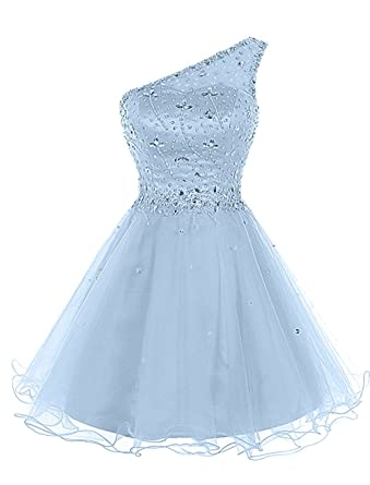 Lily Wedding Juniors Aline One Shoulder Beaded Prom Dress 2018 Short Tulle Homecoming Party Dress Mini