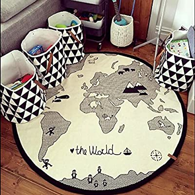 Hiltow World Map Rug Kids Rug Child Game Mats Diameter 53 inches,(Canvas)