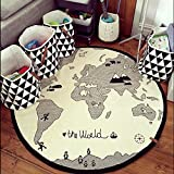 Hiltow World Map Rug Kids Rug Child Game Mats Baby Play Mat Round Area Rug (Thick,Diameter 53 inches)