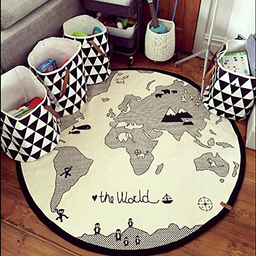 Hiltow World Map Rug Kids Rug Child Game Mats Baby Play Mat Round Area Rug (diameter 53 inches) (Black White Game Mat)