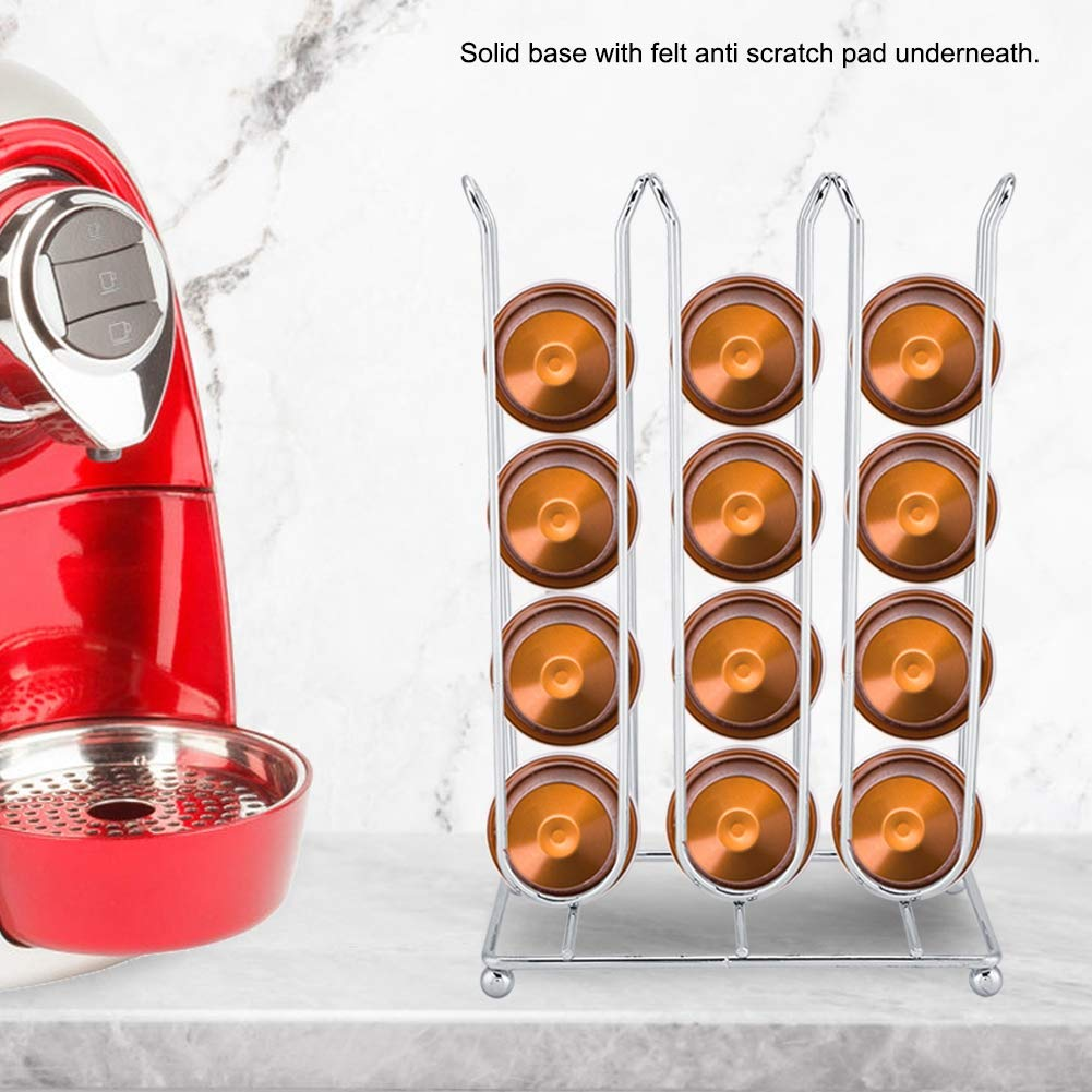 Soporte para almacenamiento de c/ápsulas 14.2 x 8.2 x 21.5 cm Astilla de base s/úper ancha y estable con almohadilla anti rayones de fieltro debajo para servir 24 c/ápsulas de caf/é