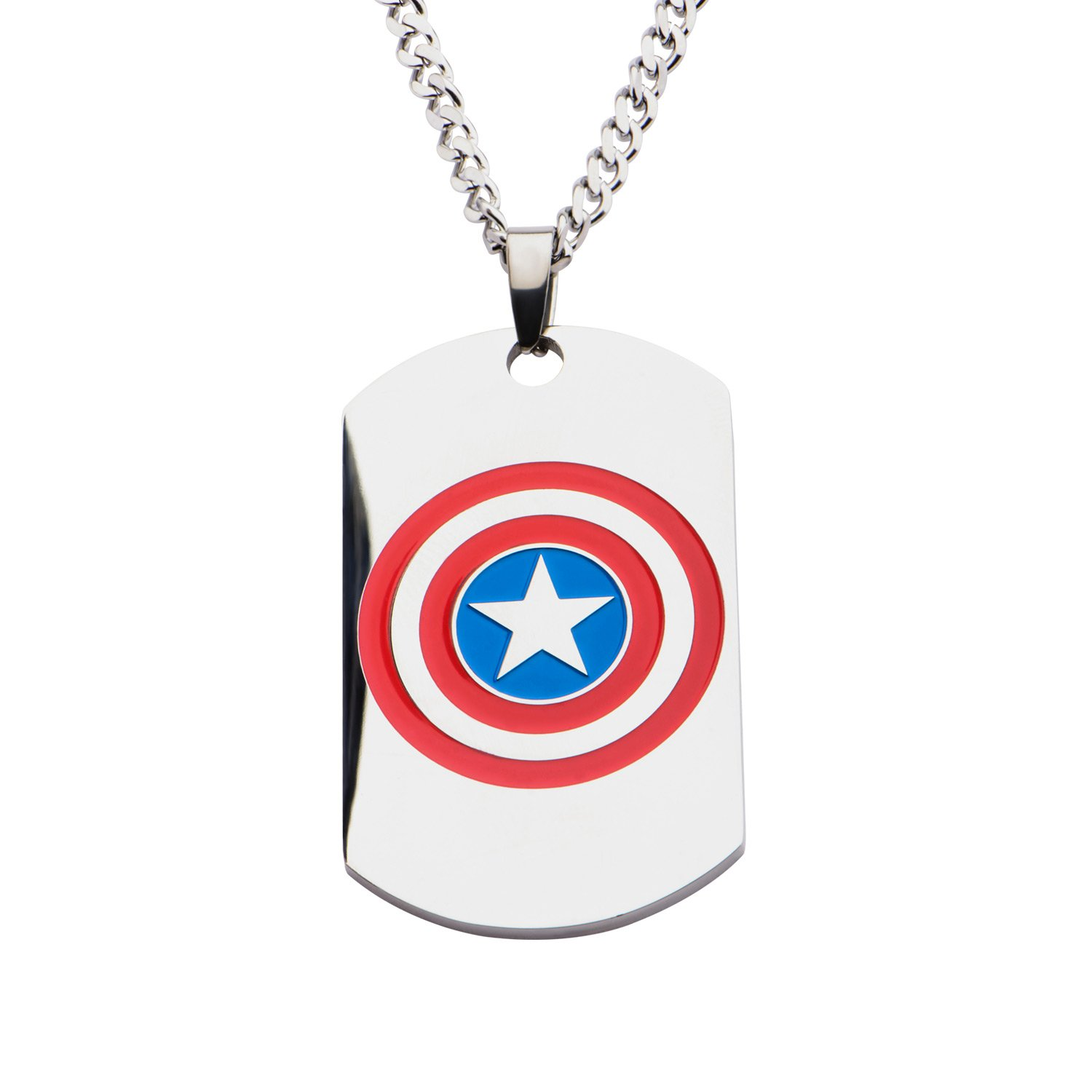 Marvel Captain America Logo Dog Tag Pendant Stainless Steel Necklace