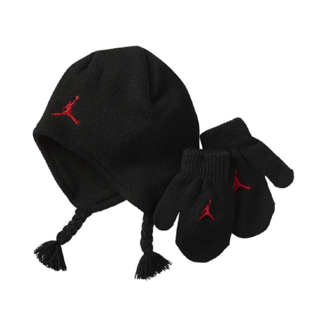 Amazon.com  Nike Air Jordan Black Knit Hat   Mittens Set (12 24 Months)   Sports   Outdoors ce5cc531324