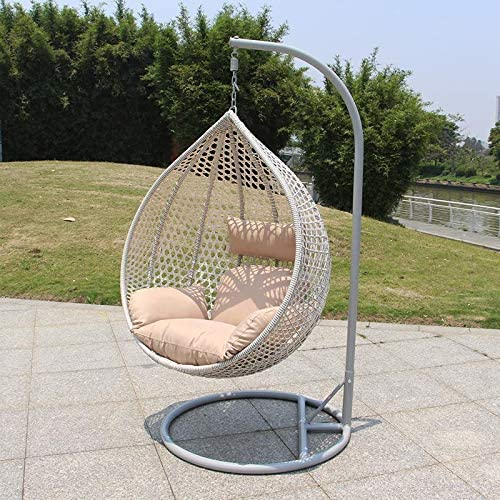 Chair Hanging Rattan Swing Patio Garden Weave Egg with Cushion in or Outdoor Medium, Dark Grey with Grey Cushion