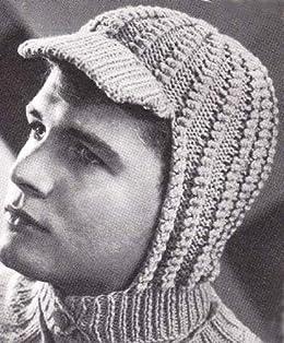 79b27cf88357c Knitted Visor Helmet Hood for Men and Women Vintage Knitting Hat Cap ...