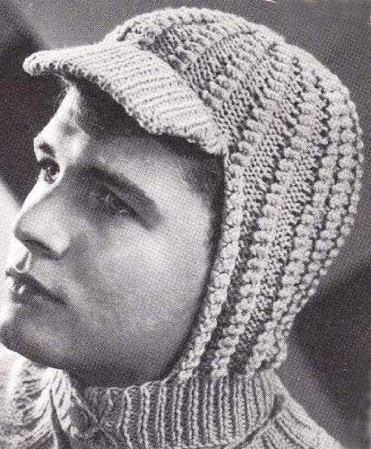 - Knitted Visor Helmet Hood for Men and Women Vintage Knitting Hat Cap Pattern