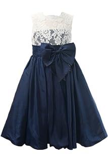 5d9bf2c9b Miama Ivory Lace Navy Blue Taffeta Wedding Flower Girl Dress Junior  Bridesmaid Dress